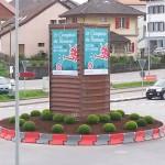 Le rond point de Chavannes aux couleurs du Comtpoir 30-04-2014